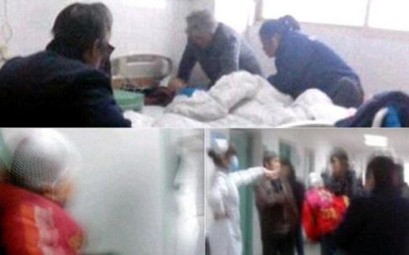 These blurry photos show some of the young victims being treated in hospital attended by anxious relatives. Photos: SCMP