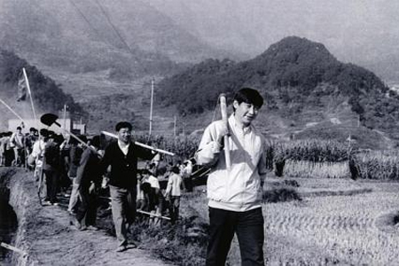 A picture taken in 1988 shows a young Mr Xi (above), then the secretary of the Ningde Prefecture Committee of the Communist Party, participating in farm work during a visit to the countryside in Fujian province