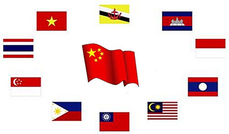 China ASEAN Flags