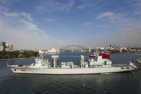The Qiandaohu, one of the type-903 replenishment ships now in service with the Chinese navy, sails into Sydney harbour in 2012