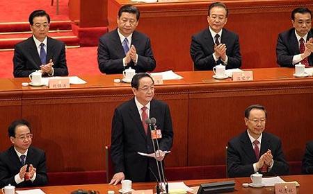 Yu Zhengsheng, chairman of the CPPCC, addresses the advisory body yesterday