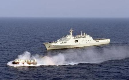 Chinese Navy's amphibious landing ship Jinggangshan near Malaysia