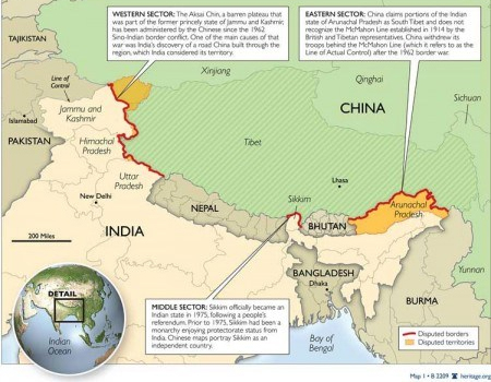 India, China Disputed Border
