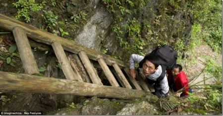 Uphill struggle: Staff at the school face a difficult commute to work on the enormous wooden ladders