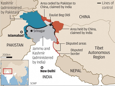 China India Disputed Border Map