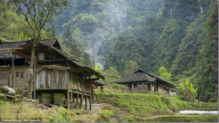 Isolated: The village in the steep mountains where the children set off from every day to go to the valley below