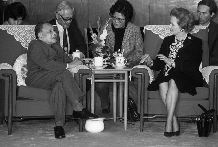 Deng Xiaoping (the white spittoon placed near his legs) meeting then-British Prime Minister Margaret Thatcher in Beijing in 1984.