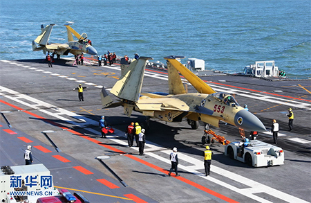 Maintenance of fighter jets on aircraft carrier the Liaoning