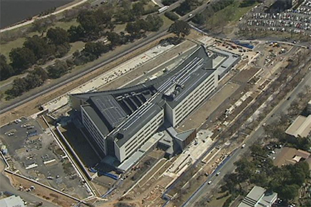 The new ASIO building sits on the shores of Lake Burley Griffin in Canberra