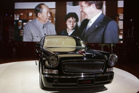 """An old FAW Hongqi """"Red Flag"""" L9 at the Shanghai International Automobile Industry Exhibition in Shanghai, April 21, 2013."""
