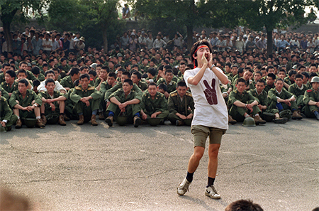 A dissident student asks soldiers to go back home; photo taken on June 3, 1989.