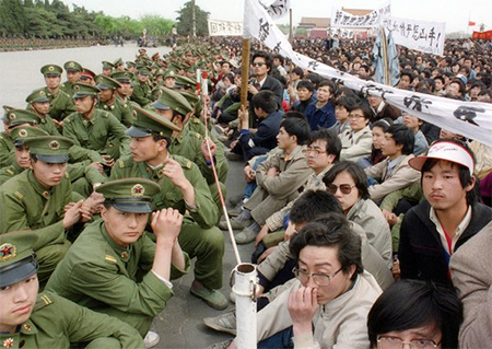Student protesters faced police officers in Tiananmen Square in April 1989 while grieving for Hu Yaobang, a former Communist Party leader and liberal whose death set off the protests