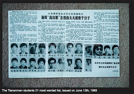 China Tiananmen 21 Most Wanted 1989