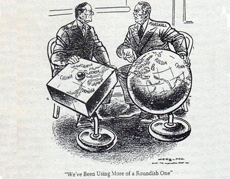 A Herblock cartoon in the Washington Post, April 1951, satirising Macarthur's view of the world