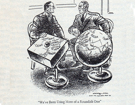 A Herblock cartoon in the Washington Post, April 1951, satirising Macarthur's view of the world