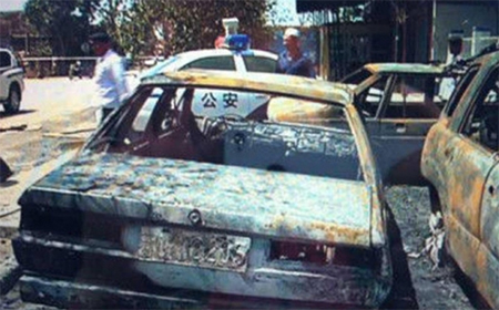 Wreckage from terrorist attacks in Xinjiang. Photo: SCMP