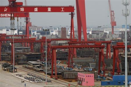 Rongsheng Heavy Industries shipyard is seen in Nantong, Jiangsu province
