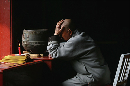 Shaolin monk in contemplation