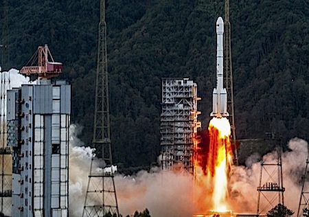 """In this photo released by China's Xinhua News Agency, a Long March-3B carrier rocket is launched from the Xichang Satellite Launch Center in Xichang, southwest China's Sichuan Province, Tuesday, Nov. 27, 2012. China successfully sent a French-made communication satellite """"APSTAR-7B"""" into orbit with the carrier rocket launched on Tuesday, Xinhua said.  (AP Photo/Xinhua, Liu Chan)"""