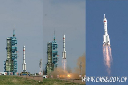 Liftoff of Shenzhou 10 crew en route to docking with target module