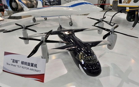A model of the Blue Whale at an expo in Tianjin. The rotors provide lift in the horizontal position and forward thrust in the vertical position