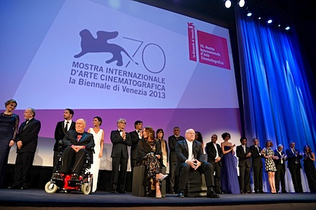 Jiang Wen and Ryuichi Sakamoto at the opening ceremony of the 2103 Venice Film Festival