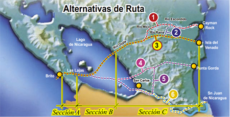 Alternative routes of the proposed Nicaragua Canal