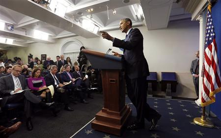 U.S. President Barack Obama holds a news conference about the federal government shutdown in the briefing room of the White House in Washington