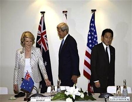 Australia's Foreign Minister Julie Bishop, U.S. Secretary of State John Kerry and Japanese Foreign Minister Fumio Kishida prepare to take seats for their trilateral meeting ahead of the Asia Pacific Economic Cooperation (APEC) forum in Bali, October 4, 2013