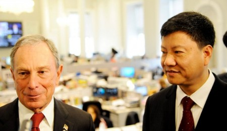 New York City mayor Michael Bloomberg, photographed here with Guangzhou mayor Chen Jianhua