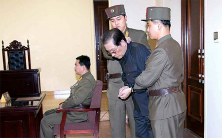 Jang Song-thaek is dragged out of a special military court on Thursday. He was executed soon after.