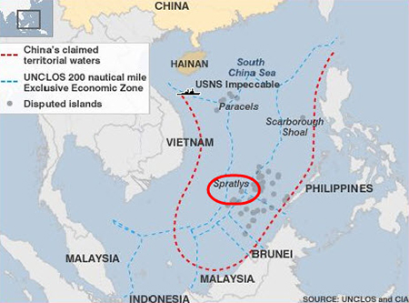 Map of the location of the island in the South China Sea