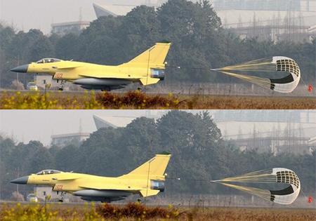 China's J-10 fighter jet during landing