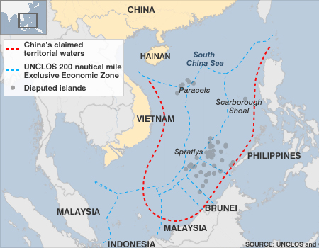 China's claimed territorial waters