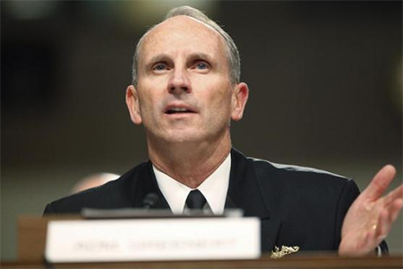 U.S. Chief of Naval Operations Admiral Jonathan Greenert testifies before a Senate Armed Services Committee hearing on the impact of sequestration on the national defense, on Capitol Hill in Washington, November 7, 2013