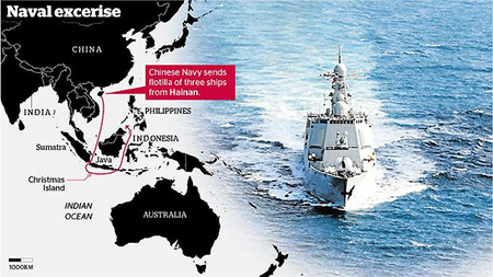 Route of Chinese warships