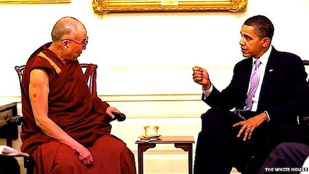 China has been angered by previous meetings between the Dalai Lama (left) and Barack Obama