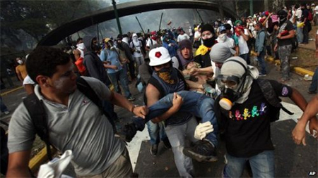 The anti-government protest in eastern Caracas 13 March ended in clashes with Venezuelan police. Three more died in widespread protests