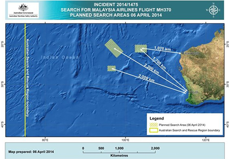 An image released Sunday by the Australian Maritime Safety Authority in Canberra, Australia, shows three search areas in the Indian Ocean, west of Australia, where planes and ships are searching again for the missing Malaysian Airlines Flight 370. (Australian Maritime Safety Authority / April 6, 2014)