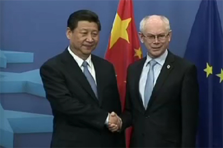 European Council President Herman Van Rompuy and China's President Xi Jinping in Brussels