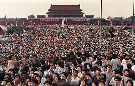 June 2, 1989: some of the hundreds of thousands of Chinese gathering around a 10-meter replica of the Statue of Liberty (centre), called the Goddess of Democracy, in Tiananmen Square demanding democracy despite martial law in Beijing. Hundreds, possibly thousands, of protesters were killed by China's military on June 3 and 4, 1989, as communist leaders ordered an end to six weeks of unprecedented democracy protests in the heart of the Chinese capital