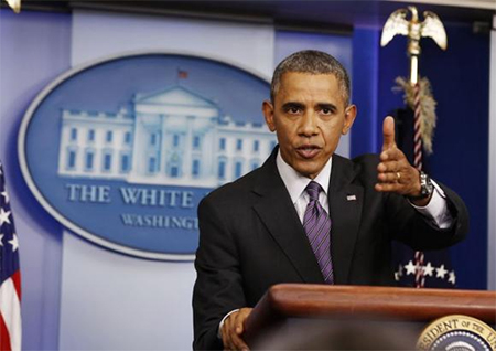 U.S. President Barack Obama speaks to the media in the Brady Press Briefing Room at the White House in Washington April 17, 2014