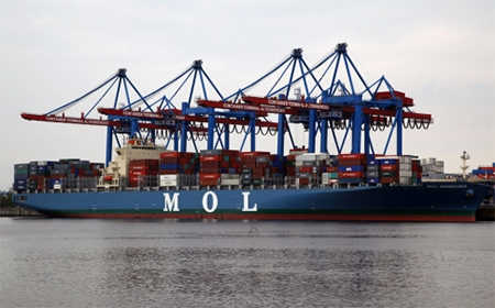 A container ship owned by Mitsui O.S.K. Lines of Tokyo