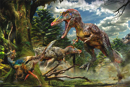This image shows two individuals of Qianzhousaurus sinensis and a small feathered dinosaur called Nankangia. Image credit: Chuang Zhao.