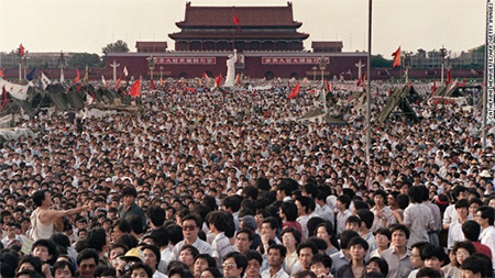 This photo was taken on June 2, 1989, showing hundreds of thousands gathered around the Goddess of Democracy