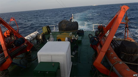 Image from a Vietnam Coast Guard ship on May 13, 2014 shows a covered gun-machine on the deck during a patrol near China's oil drilling rig in disputed waters in the South China Sea