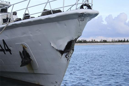 Damage on Chinese Coast Guard ship 44044 which Chinese authorities say was caused by a collision with Vietnam ships in South China Sea May 3, 2014 is seen in this handout provided by Chinese Ministry of Foreign Affairs June 13, 2014