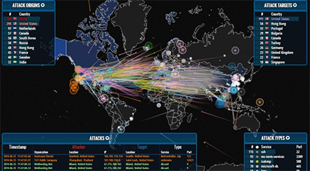 An image showing cyber attacks against USA