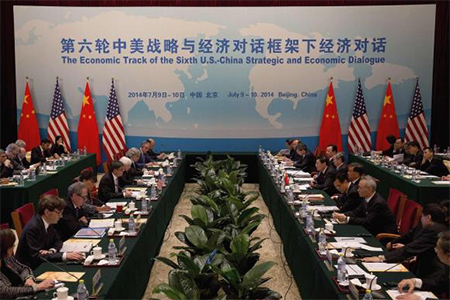 U.S. Treasury Secretary Jack Lew (5th L) speaks during the 6th China-U.S. Security & Economic Dialogue (S&ED) with Chinese Vice Premier Wang Yang (6th R) at the Diaoyutai State Guesthouse in Beijing, July 9, 2014