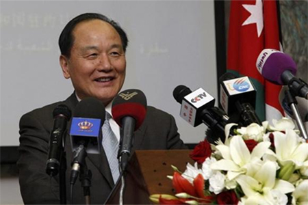 Wu Sike, China's Middle East Envoy, talks during his news conference at the Chinese Embassy in Amman May 29, 2013